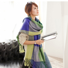 Promotion Winter Acrylic Cashmere like Tartan Plaid Scarf Women Scarves and Wraps Brand Blanket Shawl Designer Pashmina KQS004