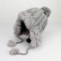 أزياء الشتاء أرنب الشعر الحياكة القبعات قبعة للنساء الحرارية الصوف bounet سوبر سميكة تزلج بيني الريح الزغب الكرة