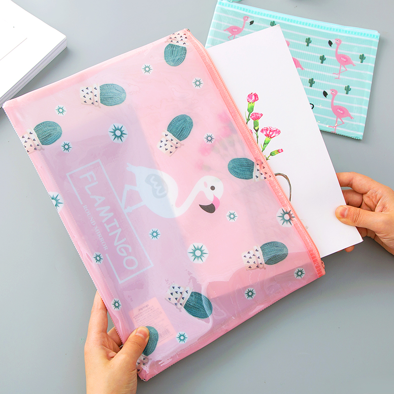 New Arrival The Flamingo Envelope Bags Cute Cartoon A4 A5 B6 PVC Portable Filing Products Students Stationery Bags