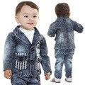 Anlencool Envío gratis Otoño nueva Europa y América del vaquero traje de marca ropa de bebé establece bebé traje de vaquero
