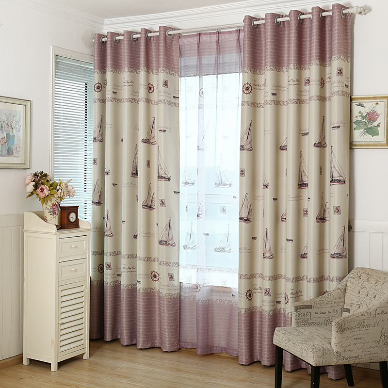 Modern Style Cartoon Little Boat Boys Girls Curtains Hall / Bedroom / Hotel  Printed Window Shades