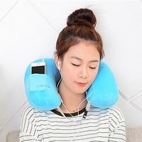 1Pcs Travel Air Inflatable Neck Pillow Massager U Shape Portable Neck Pillow Airplane Office Rest Car