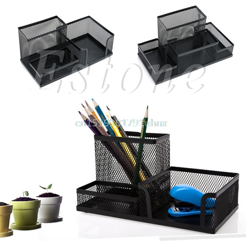 Pen Holders Desk Accessories & Organizer 2019 Fashion 2019 New Desk Mesh Pen Pencil Holder Office Supplies Multifunctional Digital Led Pens Storage