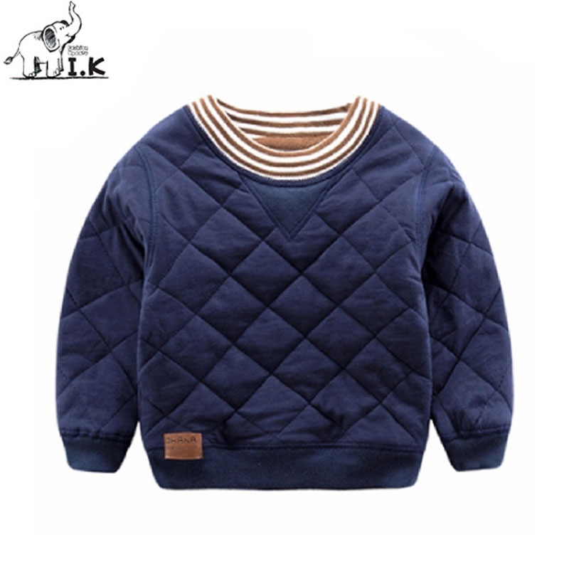 I.K Boys Sweatershirts For Winter Solid Cotton Thick Warm Tops Children Baby Kids Long Sleeves Pullover Fashion Sweaters SH1031 navy hooded design stripe pullover long sleeves tee