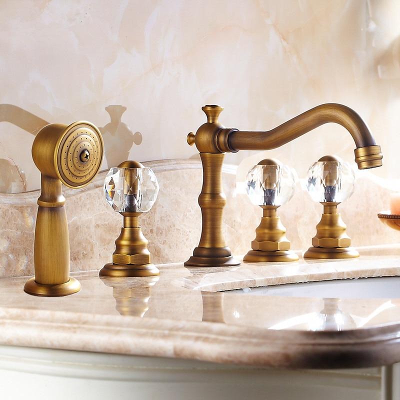 Basin Faucets Antique Brass Deck 5 Holes Bathtub Mixer Faucet Handheld Shower Widespread Bathroom Faucet Set Water Tap
