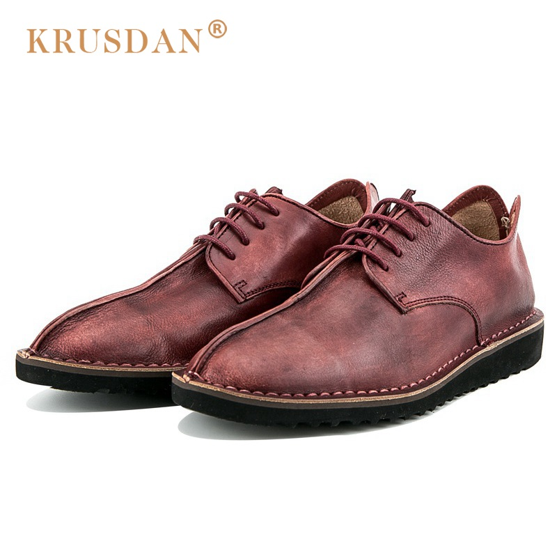 KRUSDAN Casual Man Comfortable Flat Platform Shoes Vintage Brand Genuine Leather Round Toe Lace-up Men's Handmade Footwear OQ23