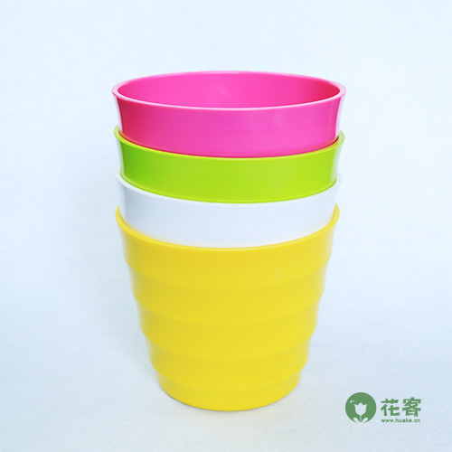High Quality 6 Candy Color Gardening Large Size Plastic Pots Vase With Tray  Square Flower Bonsai
