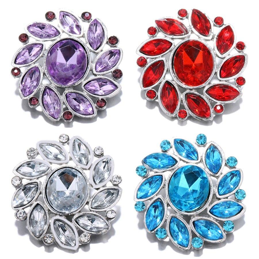 Новый Красота со стразами 4 вида цветов вращающийся цветок Металл 28 мм Кнопки fit 18 мм кнопки ювелирные изделия оптом KZ1441