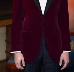 Rouge D'honneur Image Designs custom Dernières Blazer Garçons Homme Made Manteau Pantalon Smokings Mariage Vin As veste Costumes Velours Custom Cravate Marié De Meilleur Hommes The WYgnfPSn