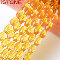 ISTONE 7x10MM Natural Stone Synthetic Citrine Faceted Oval Beads 16 Inch Pick Size Strand For Jewelry