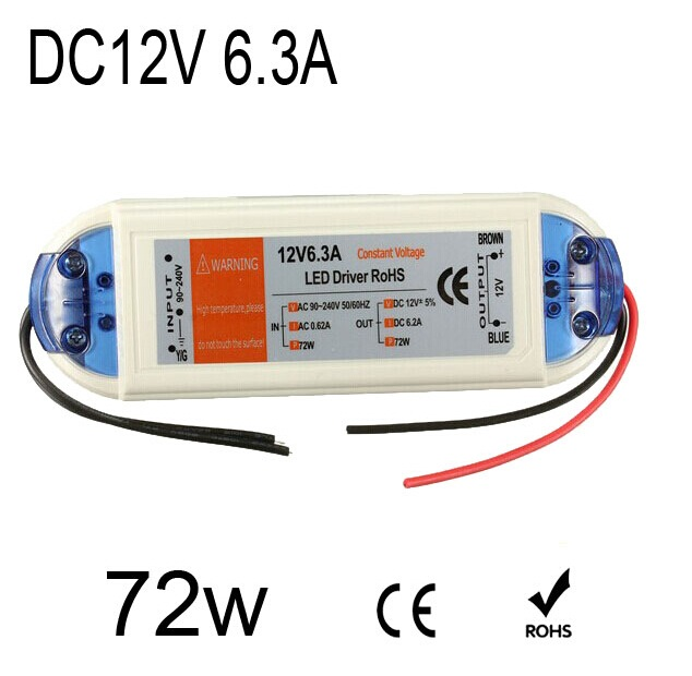 DC12V 6.3A Led Light Transformer Drive Strip Constant Voltage Power Supply Adapter 72W 50pcs 90w led driver dc40v 2 7a high power led driver for flood light street light ip65 constant current drive power supply