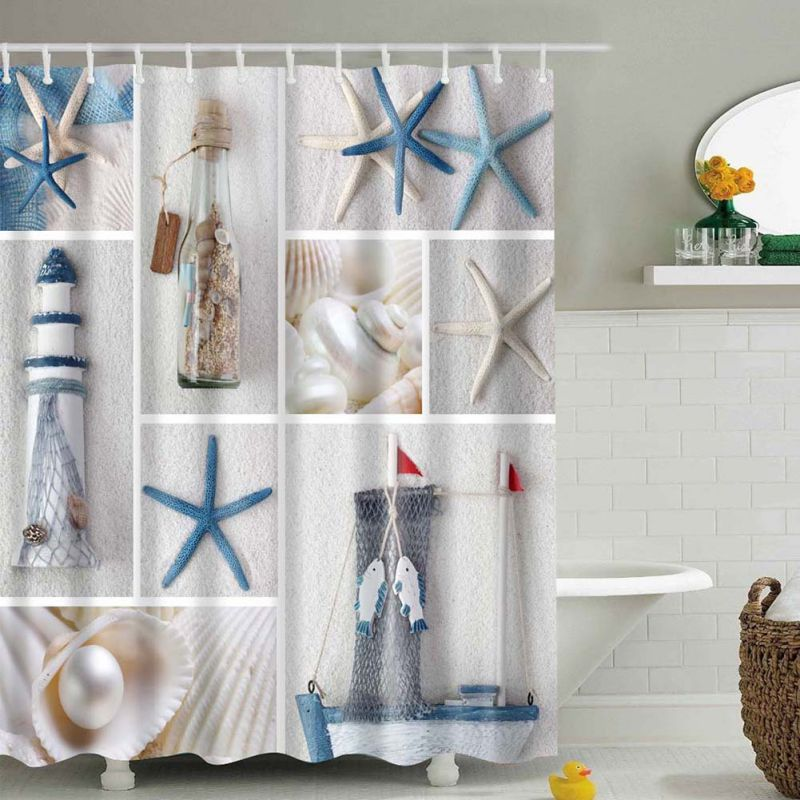 Aliexpress.com : Buy 1 Pcs High Quality Waterproof Mordern Sea Shell  Starfish Curtain Home Bathroom Curtains From Reliable Starfish Curtains  Suppliers On ...