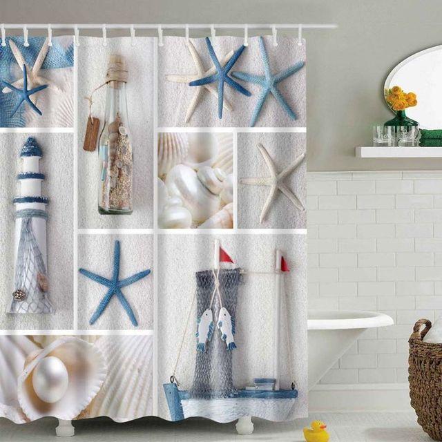 1 Pcs High Quality Waterproof Mordern Sea Shell Starfish Curtain Home  Bathroom Curtains