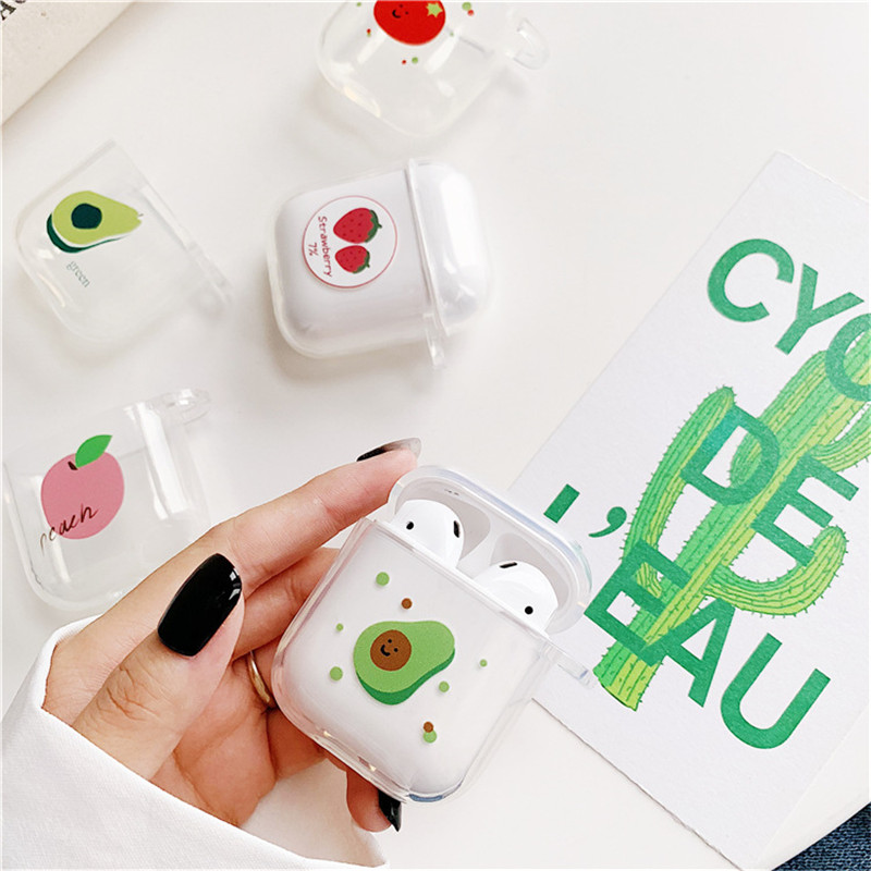 Summer Fruit Pattern Case For Airpods Cute Earphone Cover For AirPods Cartoon Bluetooth Headset Bag Soft TPU Silicone Cover Capa-in Earphone Accessories from Consumer Electronics