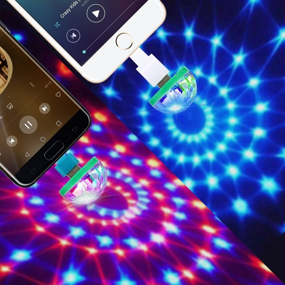 Mini Disco Light USB Christmas Ball LED Halloween Luminous Balls Bar Ballroom Flash Neon Lights Home Party Rave Glowing New Year