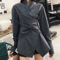 LANMREM 2018 New Gray Cross Waist Irregular Design Stand Collar Shirt Asymmetrical Temperament Personality Women Blouse BC631
