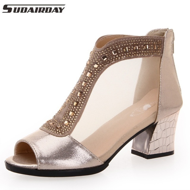 d25722d6203 Sexy Rhinestones Women Sandals Breathable Summer Open Toe Sandals Thick  Heel High-heeled Shoes Black Gold Women s Gauze Shoes
