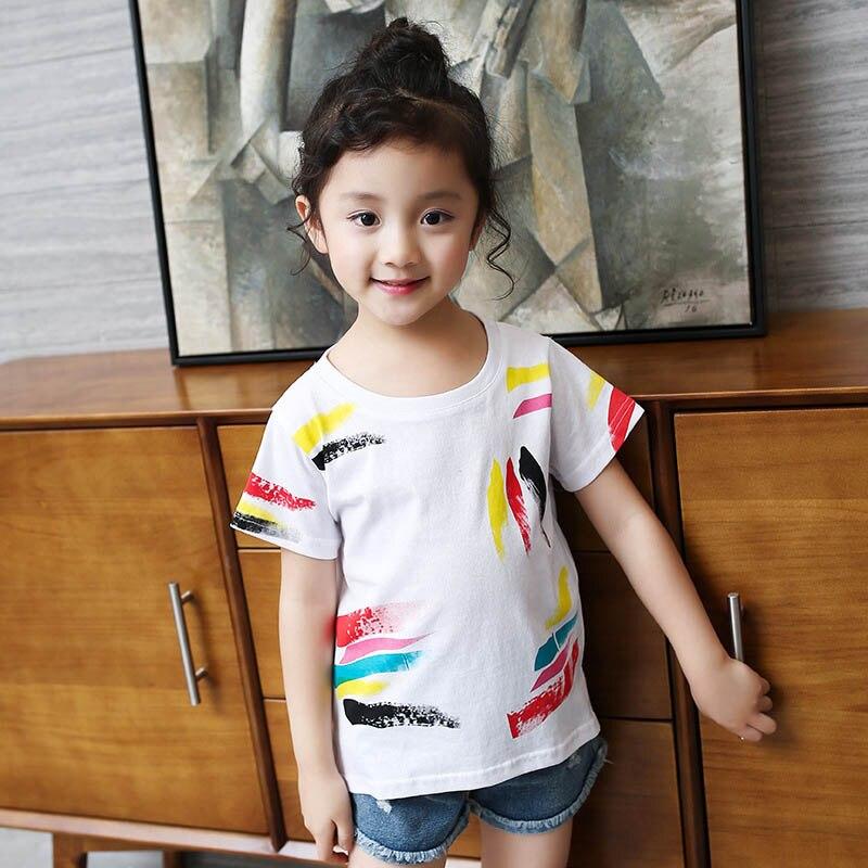 2018 New Children Summer T-shirt Girls Graffiti Tshirt Kids Short Sleeve Girls T Shirt 4 6 8 10 12
