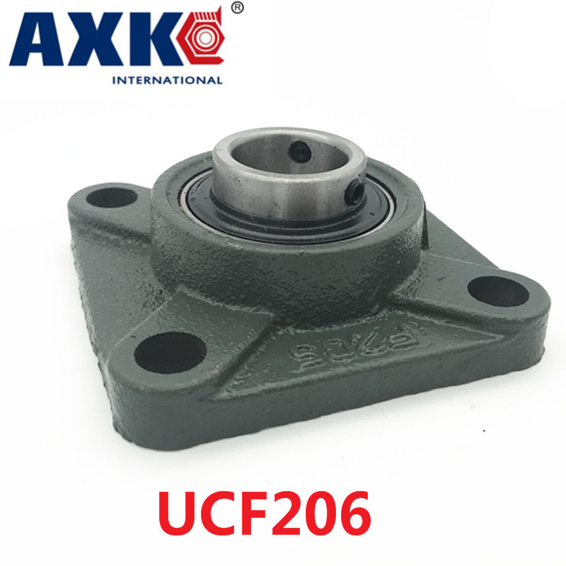 Axk Ucf206 30mm 4-bolt Square Flange Pillow Block Bearing With Housing 1pcs kfl006 12mm pillow block bearing flange block bearing cnc parts bearings for machinery equipment