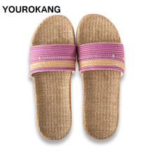 Summer Women Shoes Linen Home Slippers Indoor Floor Antiskid Female Flax Slipper Unisex Couple Flip Flops Fashion Dropshipping whoholl women summer linen slippers breathable cute rabbit linen flip flops female casual flax slippers sandals indoor shoes