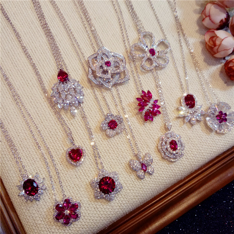 S925 Sterling Silver Necklace Pendants For Women Ruby Clavicle Chain Luxury Hyperbole Rose Red Pendant Fine Jewelry Colar