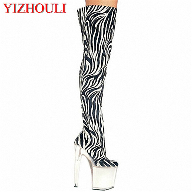 20cm High-Heeled Shoes Strap Tall Boots Platform Clubbing Exotic Dancer  Boots Hasp 8 Inch Sexy Womens Gladiator Thigh High Boots 995eb5589