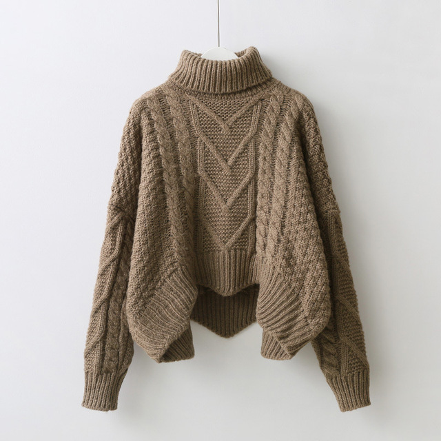 loose collar sweater female short bat sleeves wind rough woolen coat thickening 4