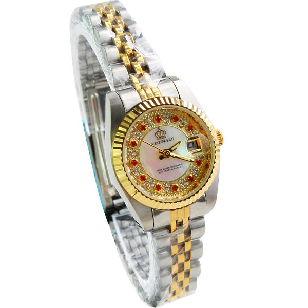 HK Luxury Brand REGINALD Rhinestone Ladies Watch Single Calendar Waterproof Woman's Exquisite Fashion Rose Gold Quartz Watches