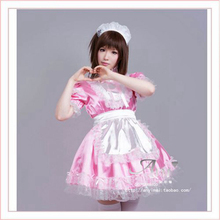 Free Shipping Sexy Sissy Maid Satin Pink Dress Lockable Uniform Cosplay Costume Tailor-made