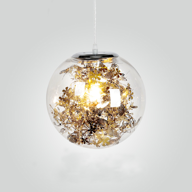 Mdern Clear Glass Ball pendant lamp Stainless steel flowers Leaves Golden Silver glass pendant lighting Fish tank Hanging Lamps