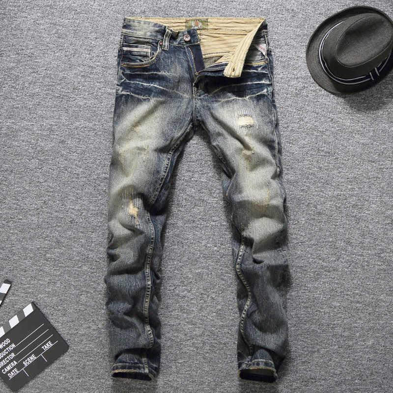 Итальянский Стиль модные Для мужчин Джинсы для женщин Винтаж дизайнер хорошее качество Рваные джинсы Homme Slim Fit Хлопок Брюки для девочек бренд классической Джинсы для женщин Для мужчин