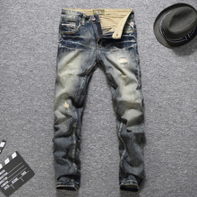 купить Italian Style Fashion Men Jeans Vintage Designer Good Quality Ripped Jeans Homme Slim Fit Cotton Pants Brand Classical Jeans Men дешево