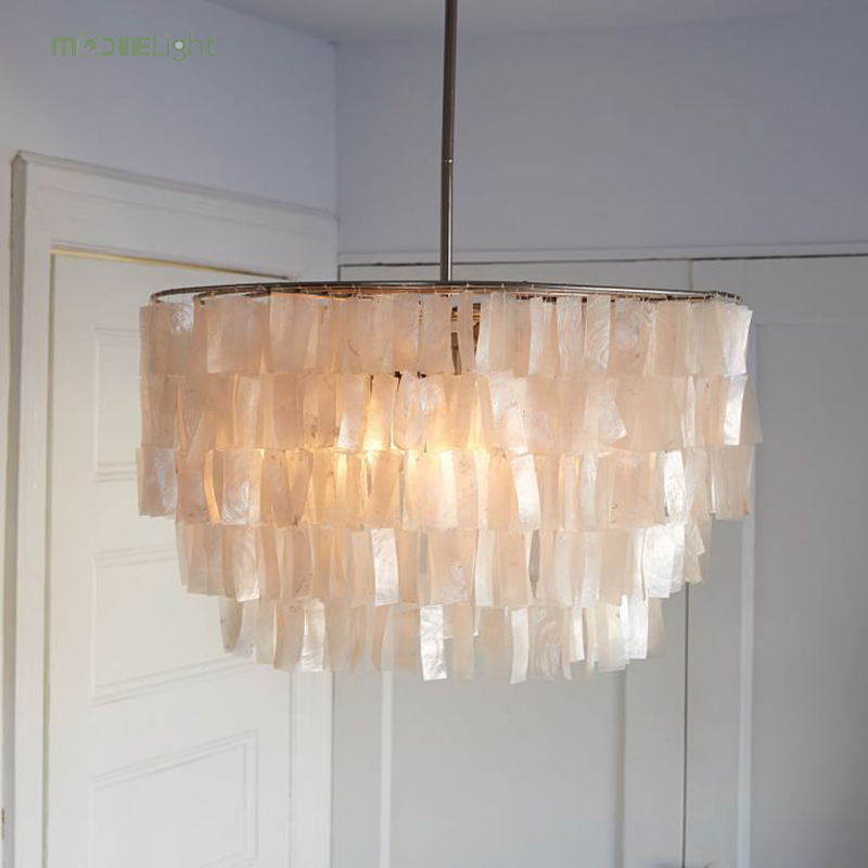 Us 385 56 49 Off Modern White Capiz S Chandeliers Lighting Re Pendant Lamps Restaurant Hanging Lamp Light Kithcen Fixture Luminaire Avize In