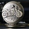 Retro bronze motocicleta harley moto moto quartzo relógio de bolso colar pingente mens presente