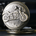 Retro harley moto moto de la motocicleta de bronce cuarzo reloj de bolsillo colgante collar para hombre regalos