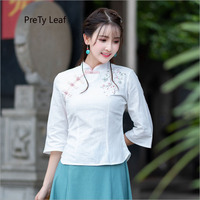 2018 autumn new stand collar embroidered seven point sleeve cotton and linen shirt women