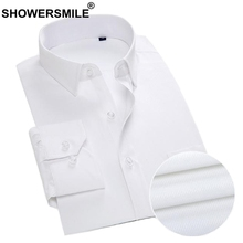 SHOWERSMILE White Cotton Dress Shirt Men Big Size Work Wear Business Casual Male Long Sleeve Slim Fit Solid Social