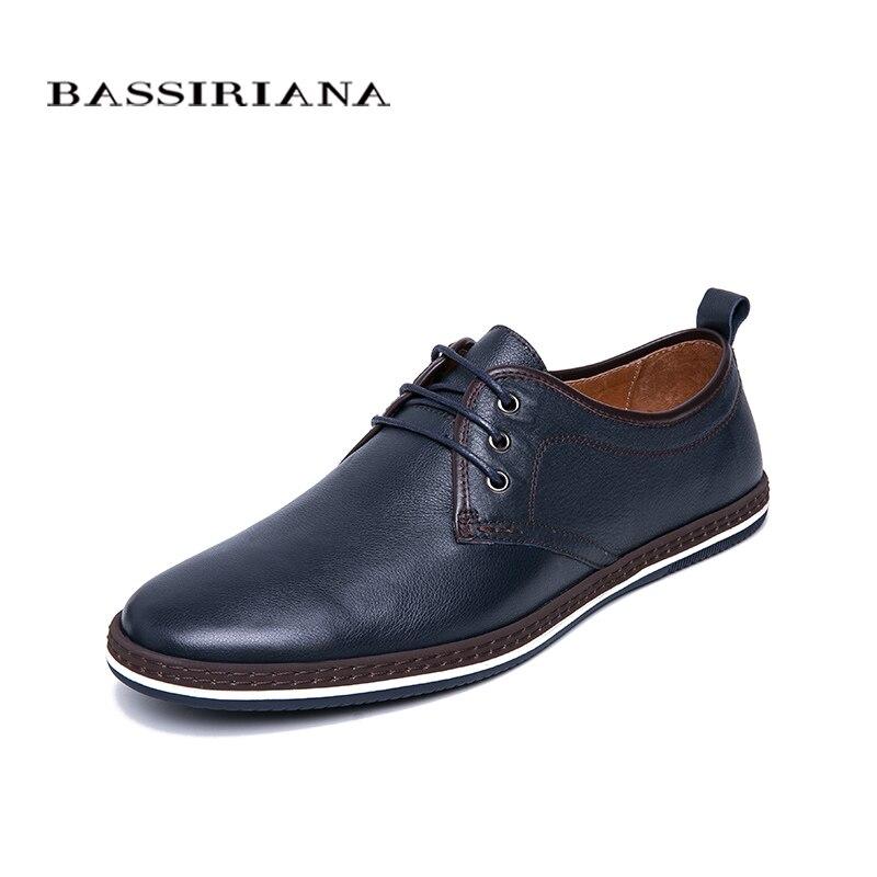 BASSIRIANA جديد 2019 جلد أصلي للرجال حذاء كاجوال الدانتيل يصل مريحة جولة تو الربيع الخريف الأسود الأزرق الداكن 39 45 حجم-في أحذية رجالية غير رسمية من أحذية على  مجموعة 2