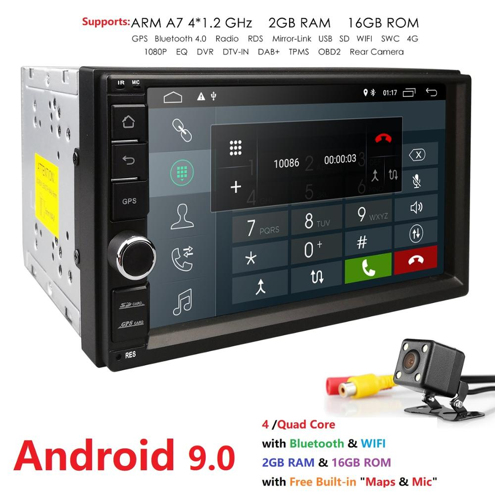 HIZPO 2G RAM 2 Din SD Android 9.0 Car NO DVD Radio Player 7 1024*600 Universal For Nissan vw GPS Navigation BT Free rear cameraHIZPO 2G RAM 2 Din SD Android 9.0 Car NO DVD Radio Player 7 1024*600 Universal For Nissan vw GPS Navigation BT Free rear camera