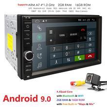 """HIZPO 2G di RAM 2 Din SD Android 9.0 Auto SENZA Radio Lettore DVD 7 """"1024*600 Universale per Nissan vw di Navigazione GPS BT telecamera posteriore Libero"""