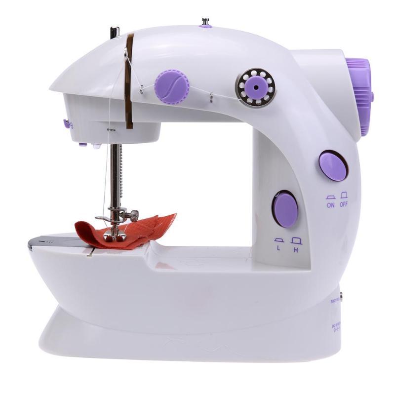 Mini eléctrico de la máquina de coser de mano de doble velocidad de ajuste con luz pie doble hilos Pendal máquina de coser