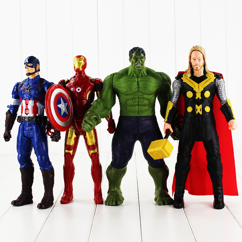 1Pcs Retail Fullset 4Style 30cm the Iron man X man Captain America Thor PVC Figure Toy
