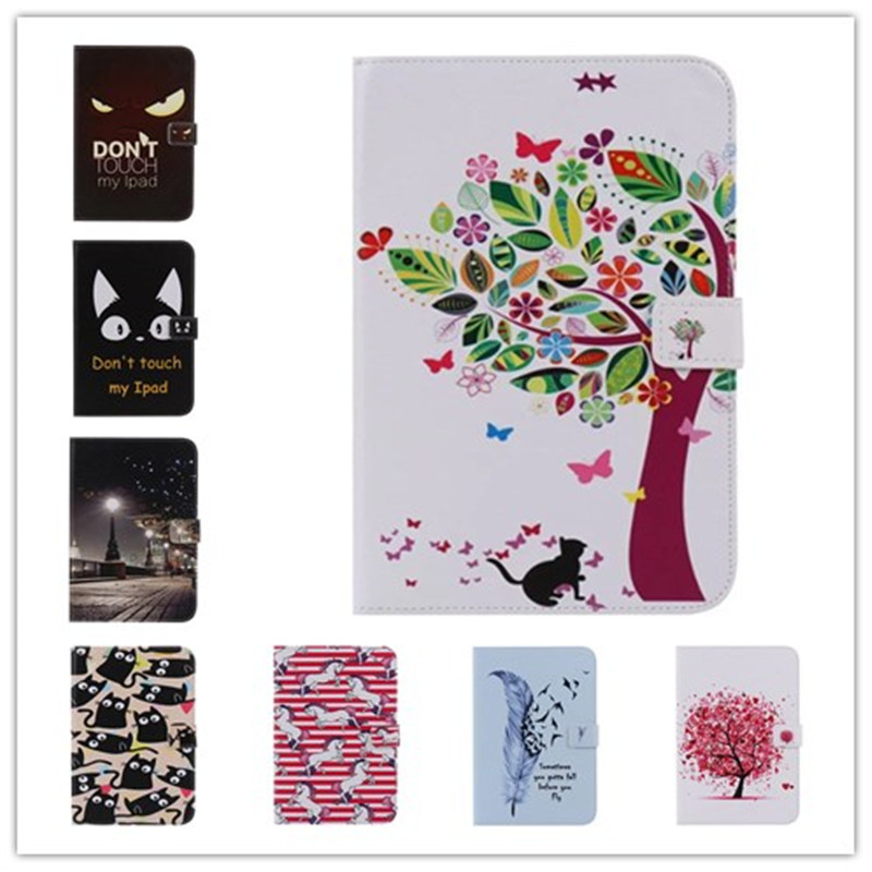 Fashion Cartoon unicorn, feathers, tree Wallet PU Leather Stand Case Cover For Samsung Galaxy Tab E 9.6 T560 SM-T560 T561 Coque