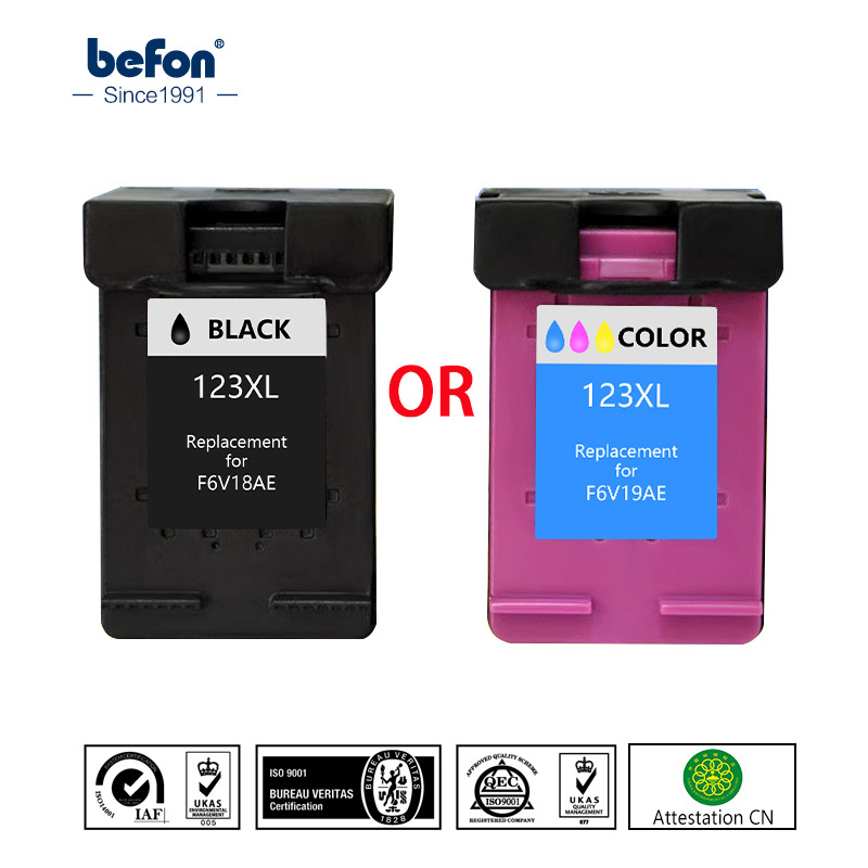 befon Re-Manufactured 123 XL Ink Cartridge Replacement for HP123 HP 123 for Deskjet 1110 2130 2132 2133 2134 3630 3632 3637 2pcs set 60xl refilled ink cartridge replacement for hp 60 xl for deskjet d2530 d2545 f2430 f4224 f4440 f4480 envy c4650 c4680