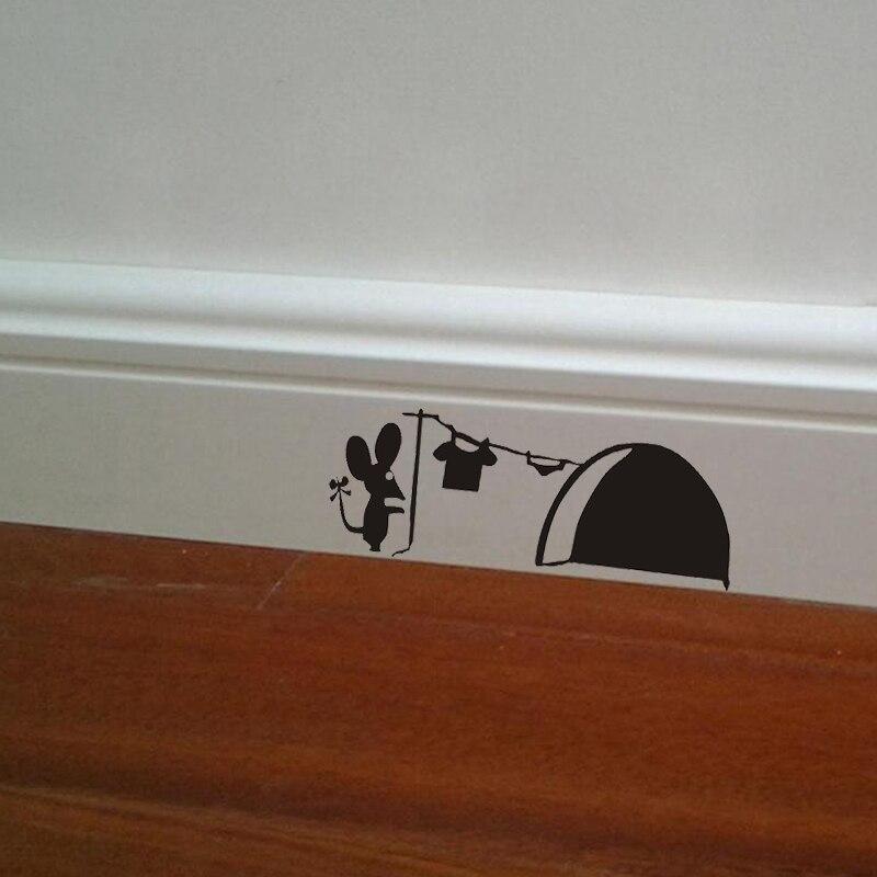 Souris amour cœur Trou Wall Art Sticker Vinyl Decal souris Home Plinthe Fun