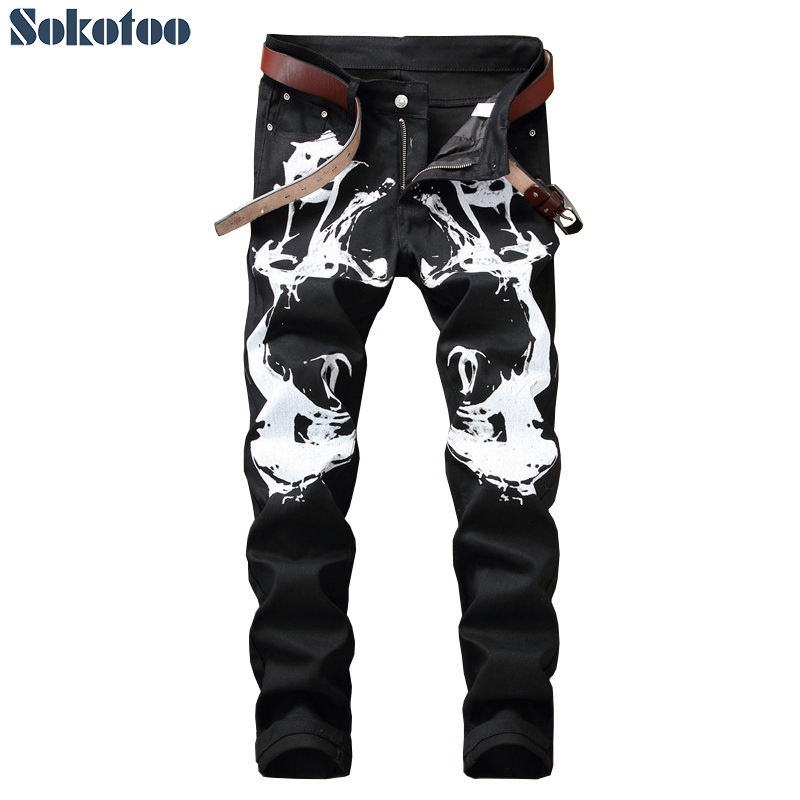 Sokotoo Men's slim fit black and white printed   jeans   Fashion stretch cotton denim painted pants