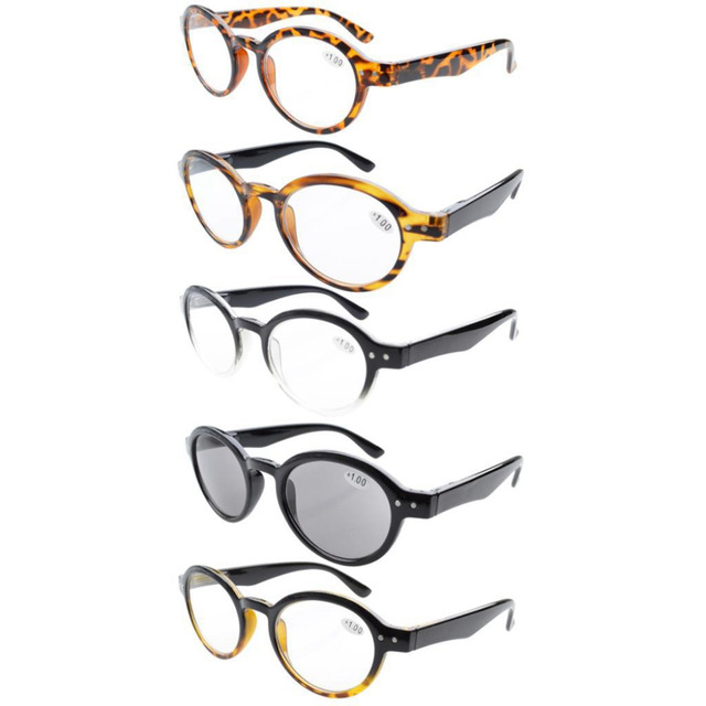 4d3b098a8ba R070 Mix Eyekepper 5-Pack Spring Hinges Round Retro Reading Glasses Include  Sun Readers +0.00---+4.00