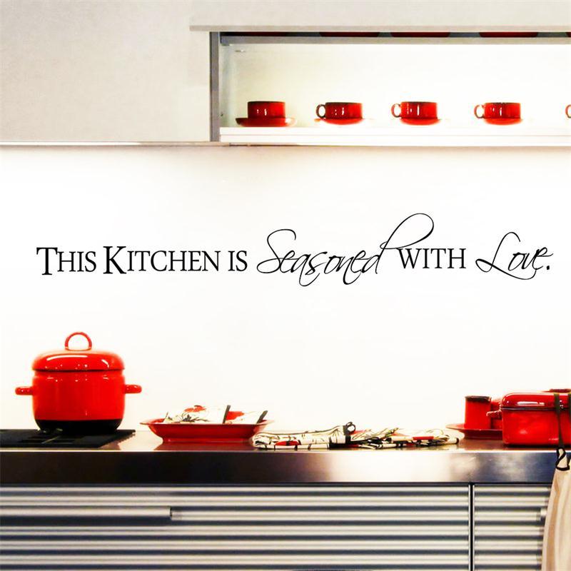 Теплые Кухня с любовью Home Decor стикер для Кухня Цитата украшения DIY Фреска Art Наклейки Бесплатная доставка
