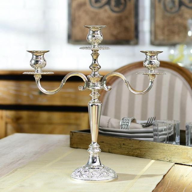 Vintage European Royal Style 3 Heads Alloy Candle Holder Table  Candlesticker Ancient Candles Stand Festival