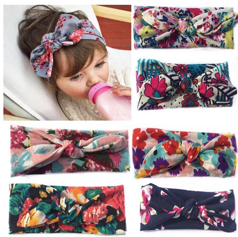 Newborn Toddler Infant Baby Girl Headband Bandana Colorful Boho Ribbon Elastic Floral Printing Turban Hair Accessories leaf print turban headband